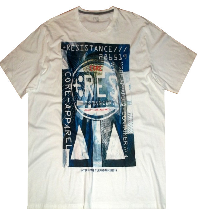 F&F - 3XL Triko Disk Graphic White